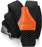 Decalen Bretelles Homme Larges Réglable Élastique Extra Fort 3 Clips en forme Y (Noir 1)