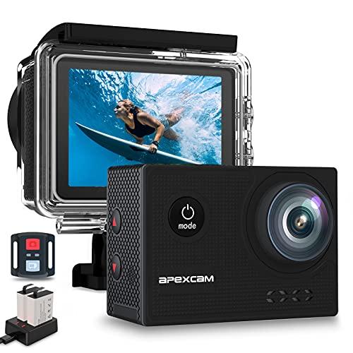 [2021 Nuova ]Apexcam 4K 60FPS EIS Action Cam WiFi 20MP Sport Camera Ultra HD Fotocamera Impermeabile 40M Sott'acqua Regolabile Grandangolare Mic Esterno Con Telecomando 2x1350mAh Batterie e Accessori