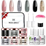 6 Colors Dip Powder Nail Kit Starter, Modelones Acrylic Dipping Powder System Essential Liquid Set with Top/Base Coat Activator for French Nail Art Manicure Extension Beginner DIY Salon