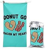 XCNGG Toalla de Playa de Microfibra, Donut Go Bacon My Heart Toalla de Secado rápido y rápido Manta Toallas de baño Ligeras, absorbentes Suaves y sin Arena para Playa, baño, natación, Viajes