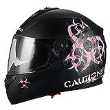 """Biohazard"" Full Face Matte Pink Dual Visor Street Bike Motorcycle Helmet by Triangle [DOT] (Small)"