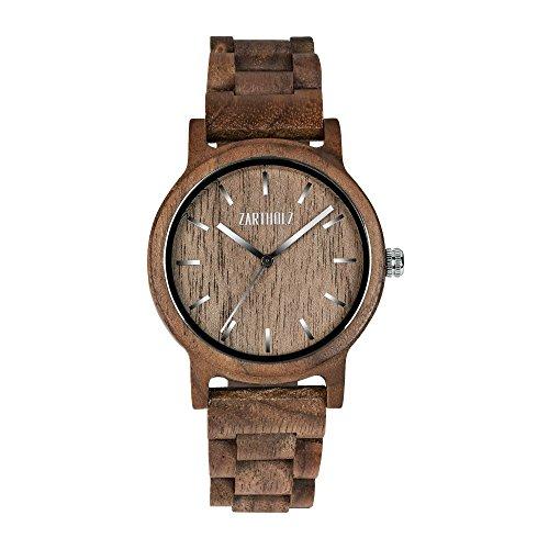 ZARTHOLZ Herren Damen Unisex Holzuhr Holz-Armbanduhr Klassik (Walnussholz)