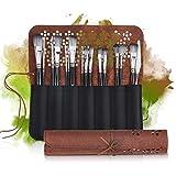Slimerence Kit de brosses à huile pour peinture aquarelle Peinture à l'huile Pinceaux pour débutants, set de 15 craies pastel à l'huile dans un sac en...