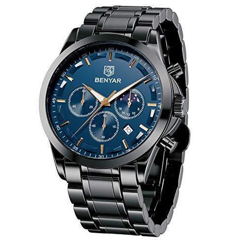 BENYAR Herren Business Armbanduhr   Chronograph Edelstahl Analog Quarzuhr   30M wasserdichte und Kratzfeste Uhr
