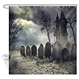 JAWO Halloween Shower Curtain, Tombstones and Old Castle on Creepy Cemetery at Night, Polyester Fabric Bathroom Decor, Bath Curtain with Hook, Bathroom Accessories, 69x70 Inch