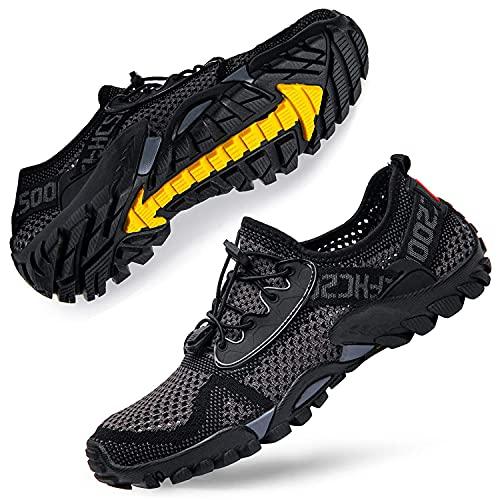 DimaiGlobal Zapatillas de Trekking para Hombres Verano Sandalias Deportivas Pescador Playa Zapatos Casuales Transpirable Zapatilla de Senderismo 44EU Gris