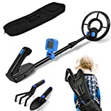RM RICOMAX Metal Detector for Kids - Metal Detector with IP68 Waterproof Coil 24 to 35'' Adjustable Stem & 2 Lb Lightweight Best Gift for Kids Metal Detector for Kids, Best Toy for Boys & Girls Blue