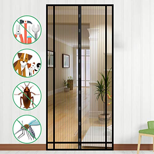 NASUM Magnet Fliegengitter Balkontür, Fliegenvorhang Magnetvorhang Tür 100cm X 220cm Insektenschutz Türvorhang Max, einfach zu montieren Ohne Bohren, für Balkontür/Terrassentür.