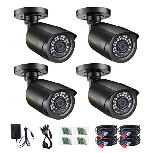 Anlapus 4pcs 1080P Kit de cámaras de vigilancia de cámara DVR analógica, visión nocturna de 20M, negro
