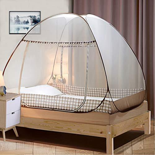 Digead Moskitonetz Bett ,Faltbares Bett-Moskitonetz ,Tragbares Reise-moskitonetz ,Einzeltür-Moskito-Campingvorhang ,180 * 200 cm - Brauner Rand