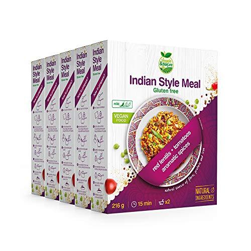 Veggie&Nature - glutenfreies veganes Schnellgericht im indischen Stil (5 x 216 g)