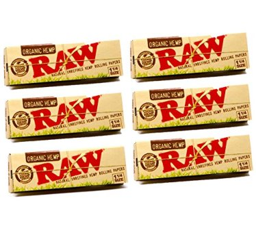 Raw Unrefined Organic 1.25 1 1/4 Size Cigarette Rolling Papers, 50 Count (Pack of 6)
