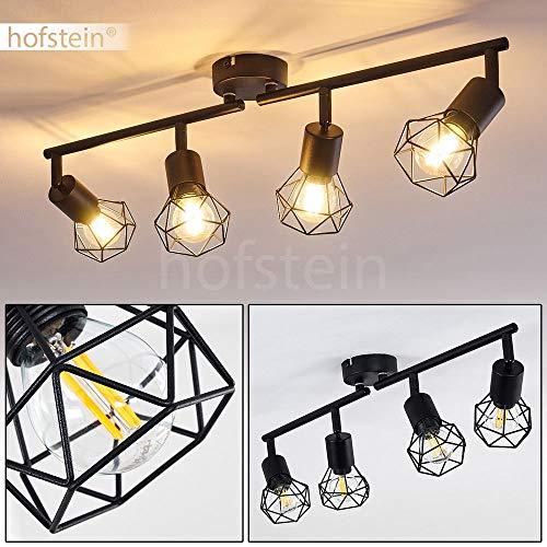Plafonnier Baripada en métal noir, 4 spots de plafond pivotants de style rétro industriel, idéal dans un salon vintage, pour 4 ampoules E14 max. 40 Watt, compatible ampoules LED