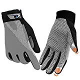 FUDOSAN Cycling Gloves Touchscreen Ultimate Frisbee Gloves Non-Slip Flexible Thin Workout Gloves (Grey, Large)