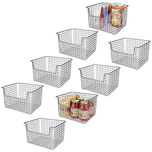 mDesign Metal Kitchen Pantry Food Storage Organizer Basket - Farmhouse Grid Design with Open Front for Cabinets,...