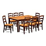9 PC Dining room set for 8-Dining Table with Leaf and 8 Dining Chairs.