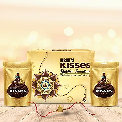 HERSHEY'S Kisses Chocolate Rakhi Gift Pack- Milk Variant | with Special Kisses-Shaped Rakhi | 1 Gift Hamper (2*100gm Pack)+ Rakhi|| Celebration Gift Pack for Rakshabandhan