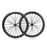 ICANIAN Ruedas de Carbono Alpha 50 Disc Ruedas de Bicicleta de Carretera 50mm Clincher tubeless Ready Disco Freno 12x100/12x142mm