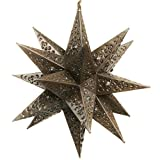 18 Inch Moravian Hanging Tin Star Light - Flower Cut with Marbles