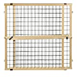 North States MyPet 50' Extra Wide Wire Mesh Petgate: Hassle free install with no tools. Pressure Mount. Fits 29.5'-50' wide (32' tall Sustainable Hardwood)