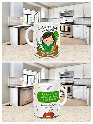 Taza Desayuno Aquí Toma la Mejor Ingeniero AGRÓNOMO del Mundo,Regalo Original,Ceramica 330 ML,Fabricado por KIVIKE.