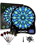 Turnart Electronic Dart Board,13 inch Illuminated Segments Light Based Games Electric Dartboard for Adults Tested Tough Segment for Enhanced Durability Professional with Scoring (Blue Lighting)