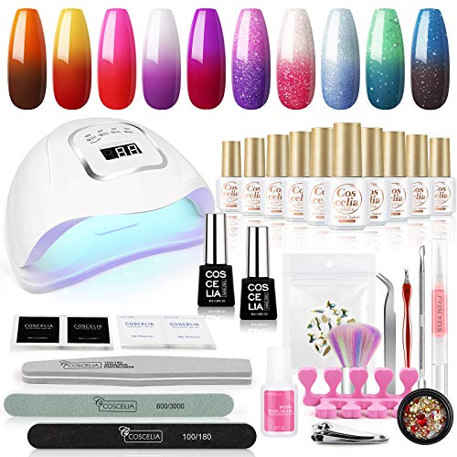 Color Changing Gel Nail Polish Kit with UV Light Starter Kit 110W Nail Lamp 10Pcs Mood Gel Nail Polish Set No Wipe Top and Base Coat Nail Decorations Set Manicure Tools DIY Salon Nail Art at Home