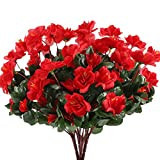 NAHUAA 4pcs Fleurs Artificielles Rouges Rhododendron Artificiel Fausse Fleur...