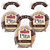 Toufayan Bakery, Whole Wheat Pita Bread for Sandwiches, Meats, Salads, Cheeses and Snacks, Cholesterol Free and No Trans Fats (12oz Bags, 3 Pack)