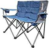 NORSEEVA Heavy Duty loveseat Camping Chair - Perfect Double Outdoor Folding Chair with Bottle Opener for Camping, Beach, Adults, and Kids. Padded Wide Camp Couch (Ocean Blue and Charcoal)