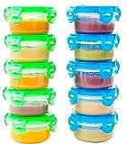 Elacra Aufbewahrungsbehälter für Babynahrung BPA-Frei Gefrierfest Mikrowellen geeignet Luftdicht Kleines Container Set, 10 Pack, 100ml