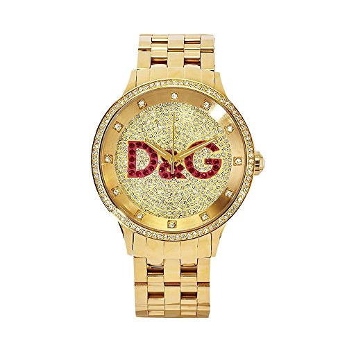 D&G WATCH PRIME TIME BIG IPG GOLD DIAL WITH RED LOGO BRC DW0377- Orologio da donna