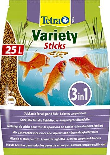 Tetra Stagno Variet Bastoncini Pesce Cibo Mix di Tre Diversi Cibo Bastoncini Per Tutti I Pesci, 25 Litri