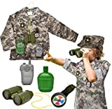 US Army Kids Army Soldier Costume Children's Deluxe Combat Military Soldier Role Play Dress Up, Camouflage Costume Set with Cap for Boys Kids and Toddlers