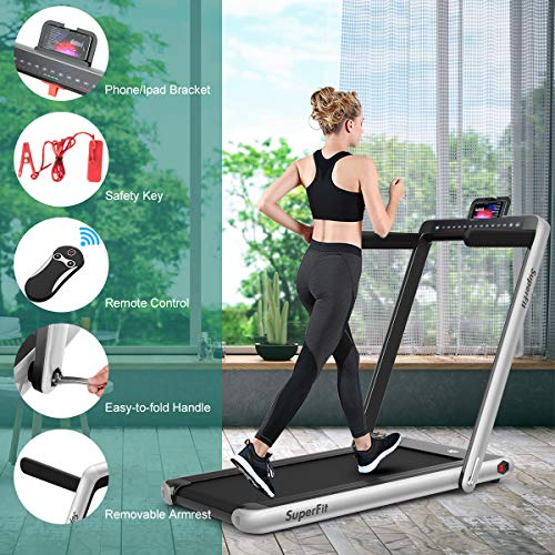 GYMAX 2 in 1 Under Desk Treadmill, 2.25HP Folding Walking Jogging Machine with Dual Display, Bluetooth Speaker & Remote Controller, Electric Motorized Treadmill for Home/Gym (Silver) 7