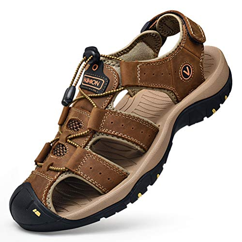 Unitysow Sandalias Hombre Verano Los Zapatillas de Senderismo Transpirable Peso Ligero Cuero Camper Deportivas Sandalias Al Aire Libre Pescador Playa Zapatos,Marrón,44