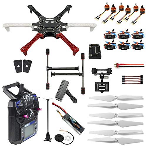 QWinOut Full Kit RC Drone Aircraft Kit F550 Hexa-Rotor Air Frame GPS APM2.8 Flight Control Camera Gimbal PTZ DIY Drone Kits RTF