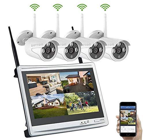 Aottom Kit Sorveglianza Videosorveglianza Wifi con Monitor LCD 12' Sistemi di sorveglianza 1080P 8CH NVR con 4 Telecamere, Plug e Play, Salvaschermo Auto, Motion Detection, Allarme E-mail, No HDD