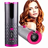 Cordless Automatic Hair Curler Portable Electric Wand Curling Iron with LCD Temperature Display Fast...
