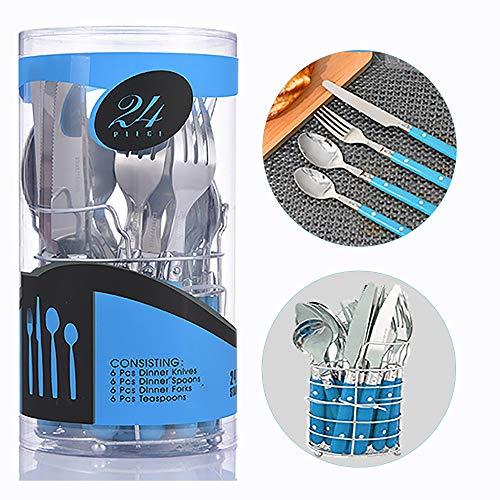 Alaskaprint Set di posate da 24 pezzi Set di posate in acciaio inossidabile con coltello forchetta cucchiaino e cucchiaio per 6 persone (Argento su blu)