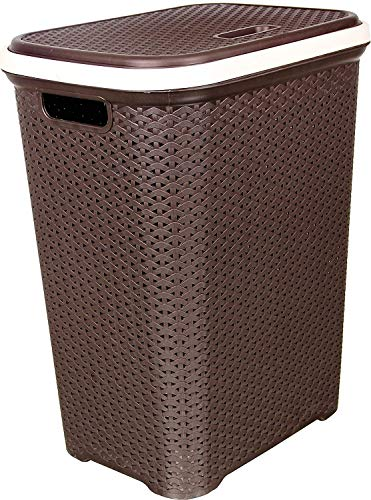 Nilkamal Laundry Basket with Lid 50ltrs. (Chocolate Colour)