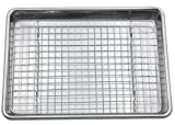 Checkered Chef Stainless Steel Quarter Sheet Pan and Rack Set - 9.5 x 13 inches - Heavy Duty Non Warping ¼ Baking Sheet Pan with Oven Safe Cooling/Baking Rack