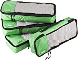 AmazonBasics 4 Piece Packing Travel Organizer Cubes Set - Slim, Green