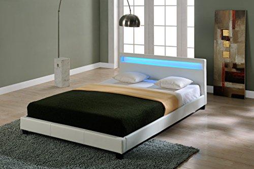 Corium Letto Imbottito Illuminazione LED (Paris) (Bianco)(180x200cm) Letto Moderno/Similpelle/con...