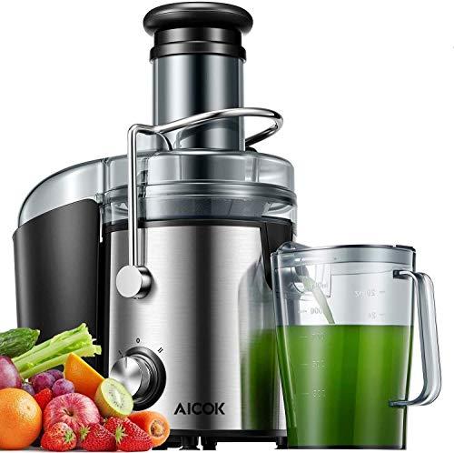 Aicok Centrifuga Frutta e Verdura, 800W Potente Estrattore di Succo Freddo con 75MM Bocca Larga, Piedi Anti-scivolosi e Facile Pulizia, Centrifuga di Acciaio Inox con 2 Velocità, Senza BPA