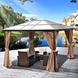 YITAHOME 10x12 ft Hardtop Aluminum Polycarbonate Gazebo , Outdoor Canopy Gazebos for Patio , with Mosquito Netting and Privacy Curtain for Garden, Backyard, Deck, Lawns