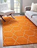 Unique Loom Trellis Frieze Collection Lattice Moroccan Geometric Modern Area Rug, 5 x 8 Feet, Orange/Ivory