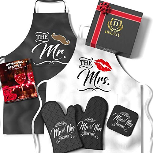 DELUXY Mr and Mrs Aprons For Happy Couple - Memorable Bridal...