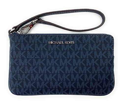 51bDJ d1iAL Large Top Zip wristlet in monogram printed PVC with polished hardware Custom logo printed fabric lining with 3 inner card slips Fully zippered top closure with Michael Kors logo accenting front
