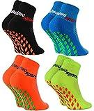 Rainbow Socks - Fille Garçon Chaussettes Antidérapantes de Sport - 4 paires -...